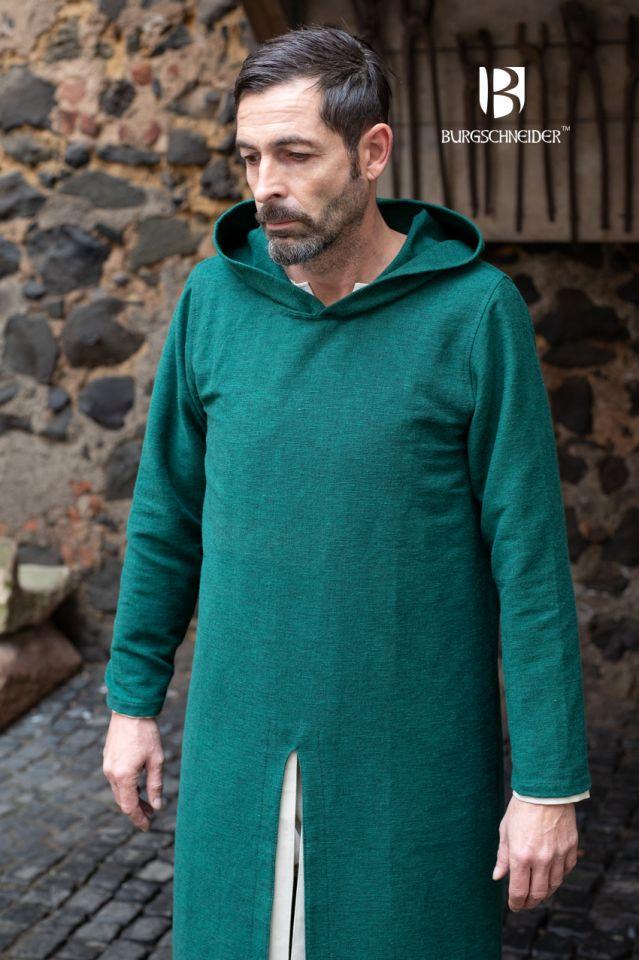 Longue tunique à capuche Renaud en vert 3