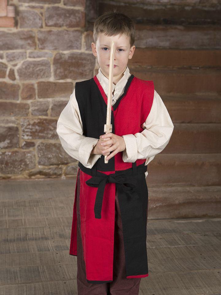 Tabard Norman pour enfant, rouge et noir 3