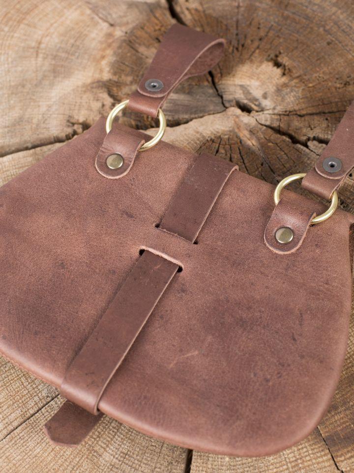 Besace  de ceinture médiévale avec ornements, en marron 4