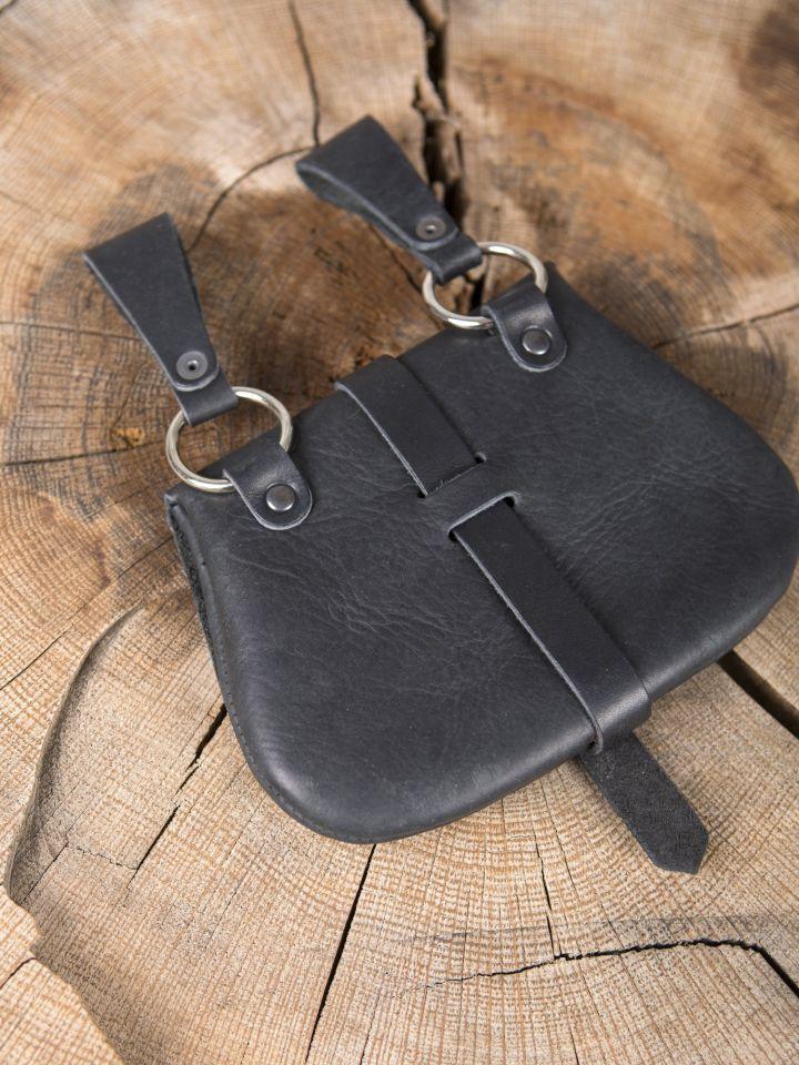 Besace de ceinture médiévale avec ornements, en noire 4