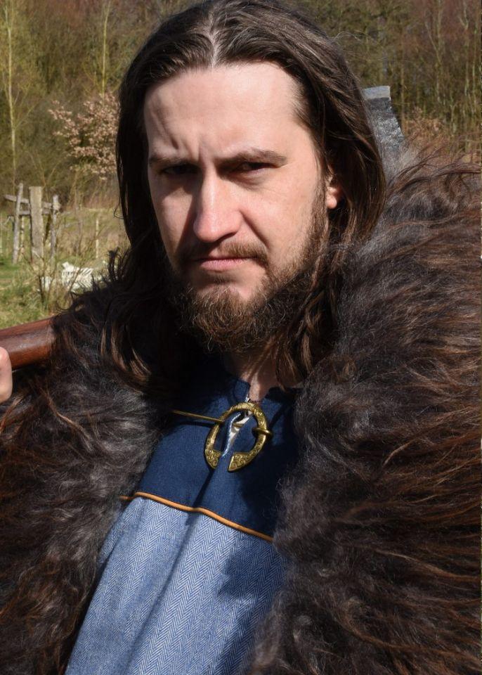 Tunique Viking bleue, motif chevrons 4