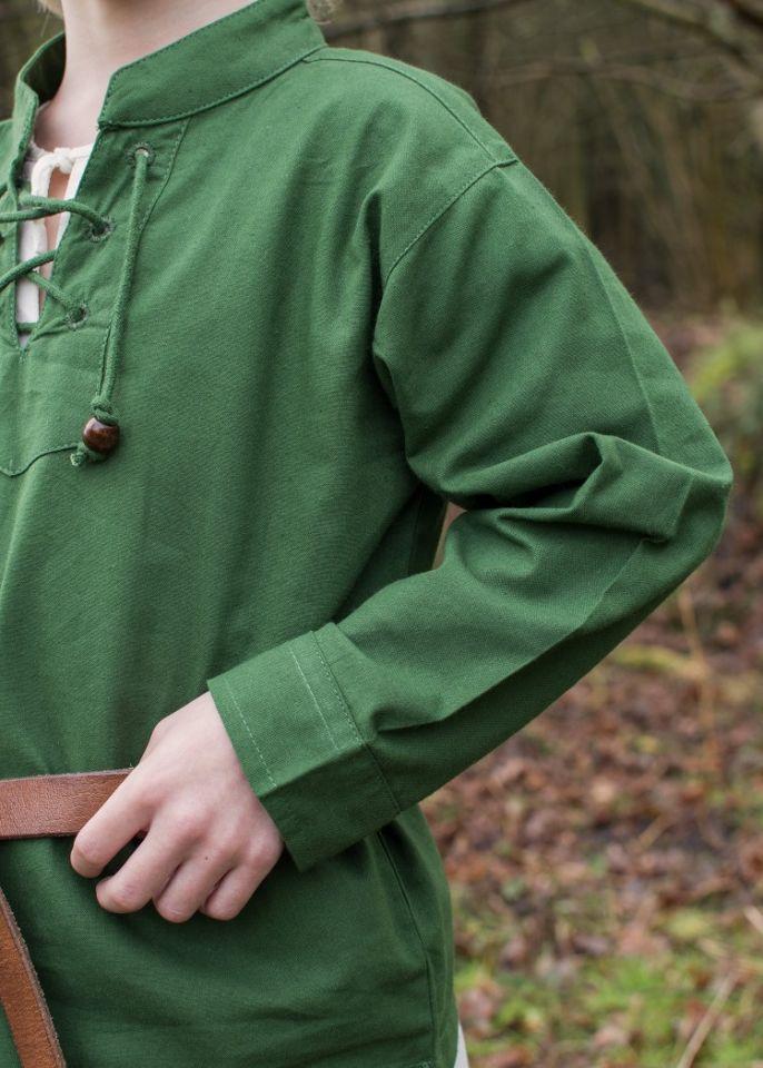 Chemise médiévale pour enfant, en vert 4