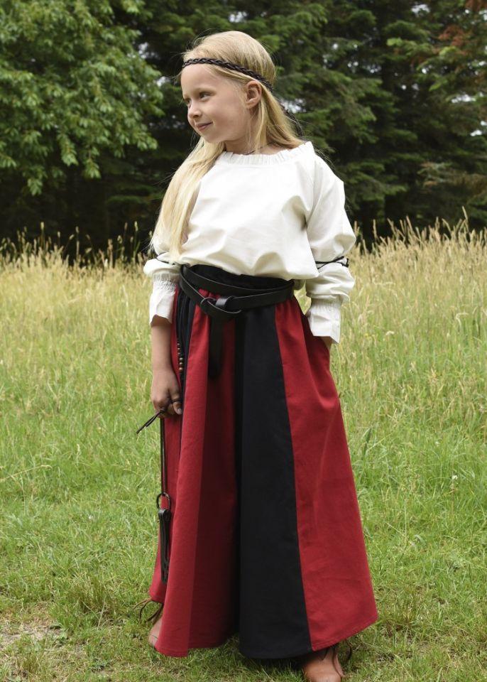 Jupe médiévale pour enfant, rouge et noire 4