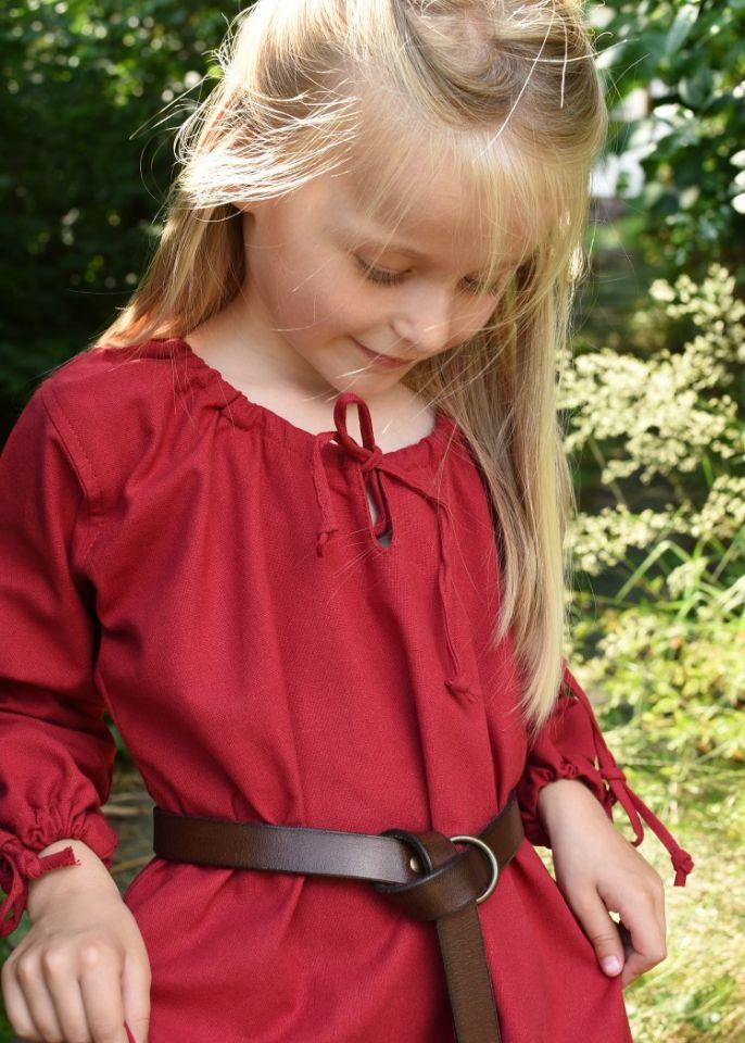 Robe médiévale Mara pour enfant en rouge 4