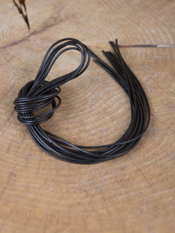 Lacet de cuir de forme ronde ou carrée carré | noir 4