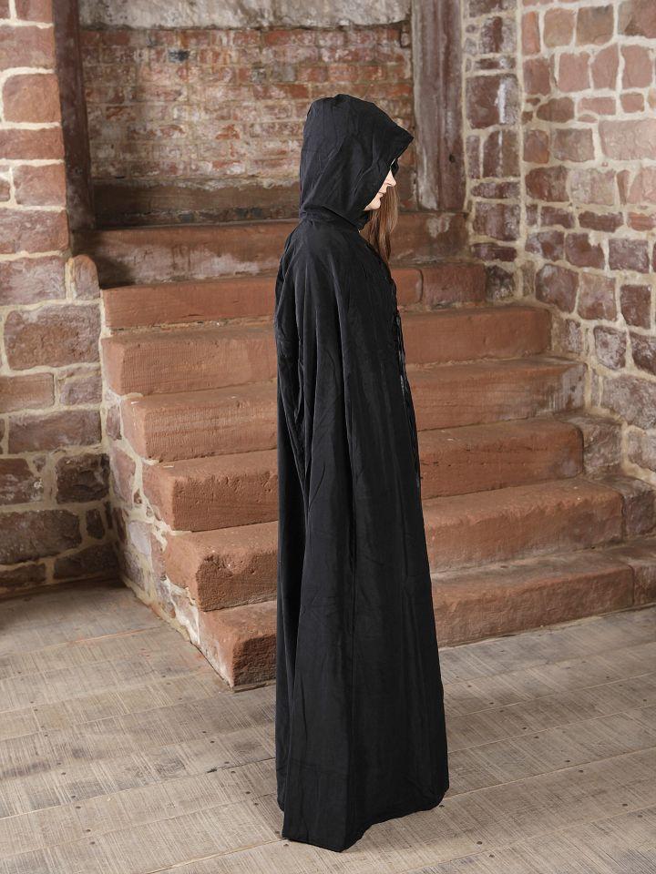 Cape à capuche en velours noir 4