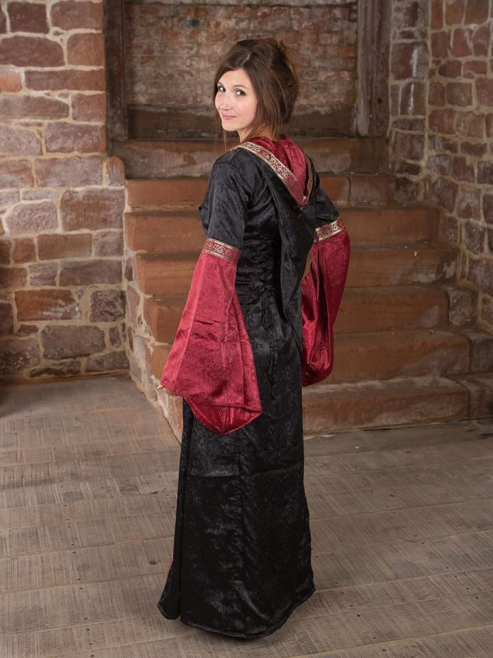 Robe médiévale avec capuche en rouge et noir S/M 4