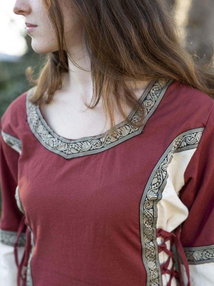 Robe médiévale bicolore à galons 4