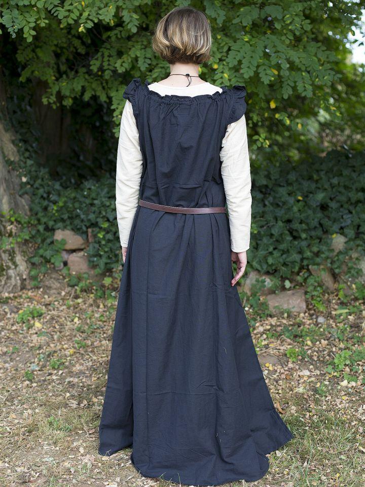 Robe médiévale sans manche à volant en noir 4