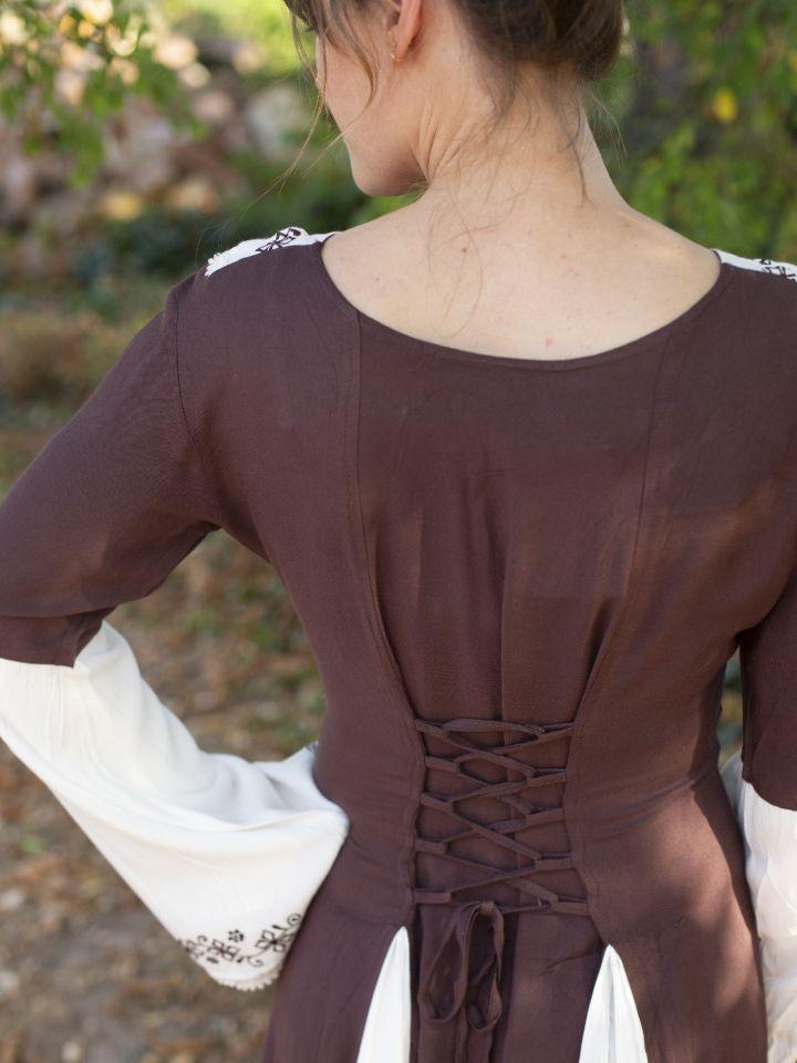 Robe médiévale  bicolore avec petite broderie en marron et blanc 4