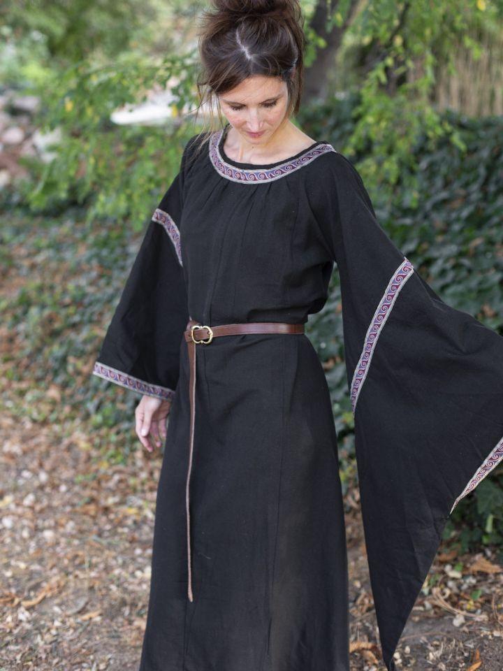 Robe Médiévale à galons, en noir 4