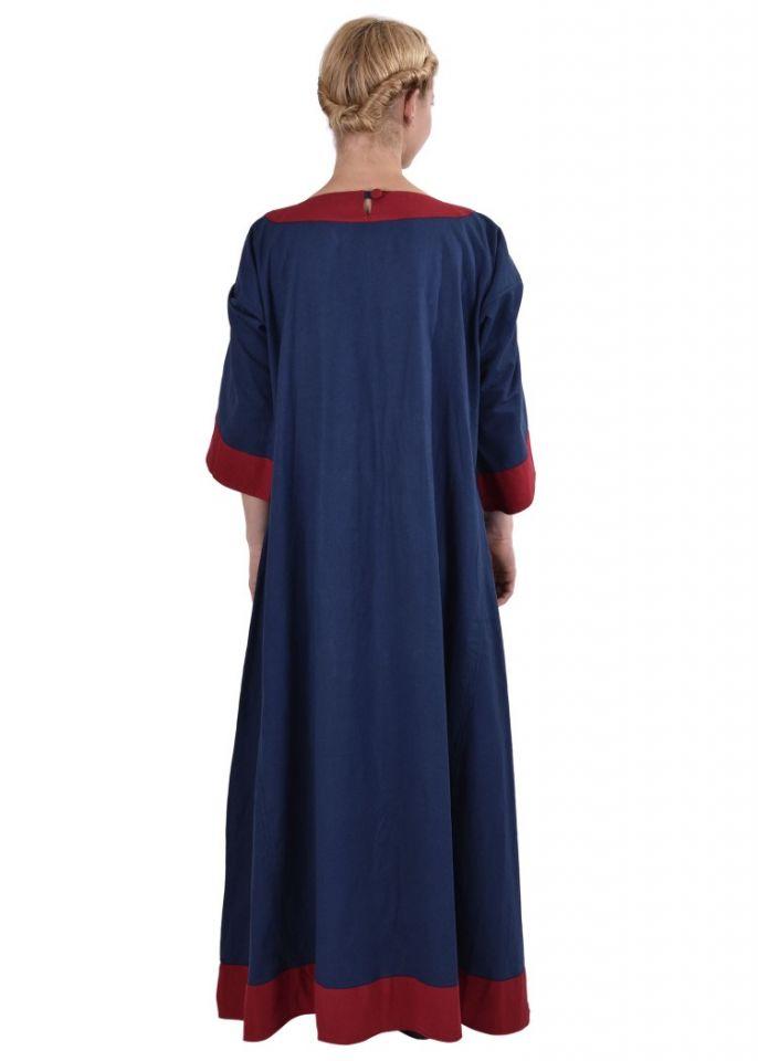 Robe médiévale Radegonde bleue-rouge 4