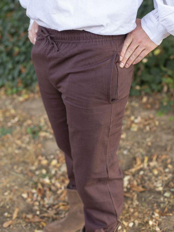 Pantalon médiéval serré aux chevilles, marron L 4