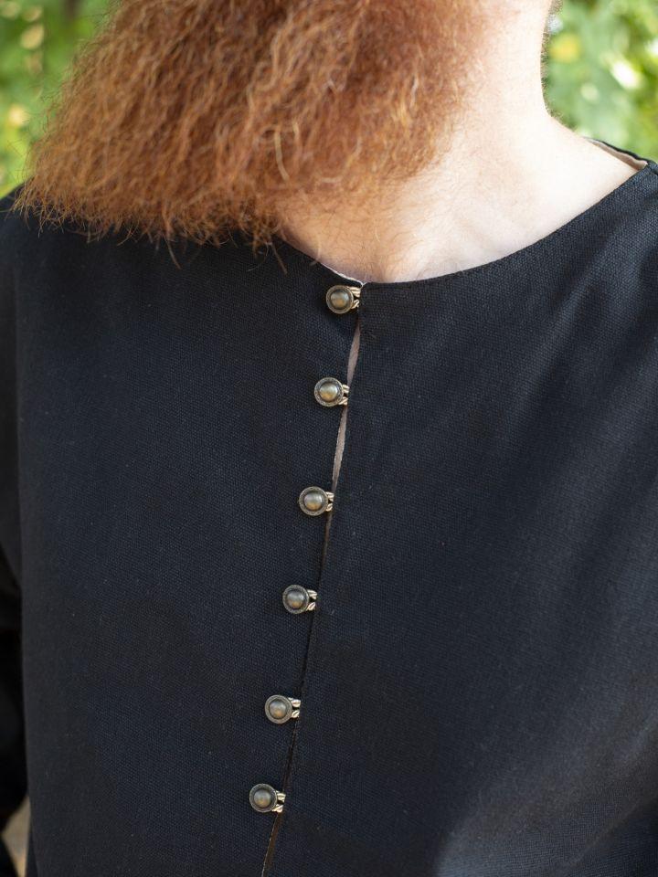 Tunique médiévale boutonnage en laiton en noir 4