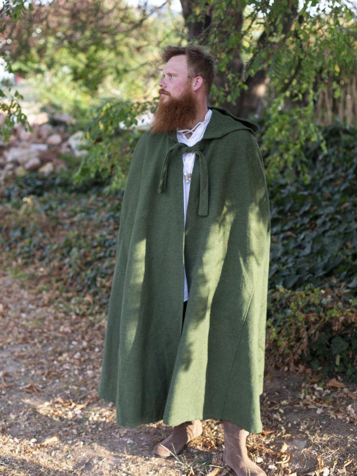 Cape en coton rustique en vert à longue capuche 4