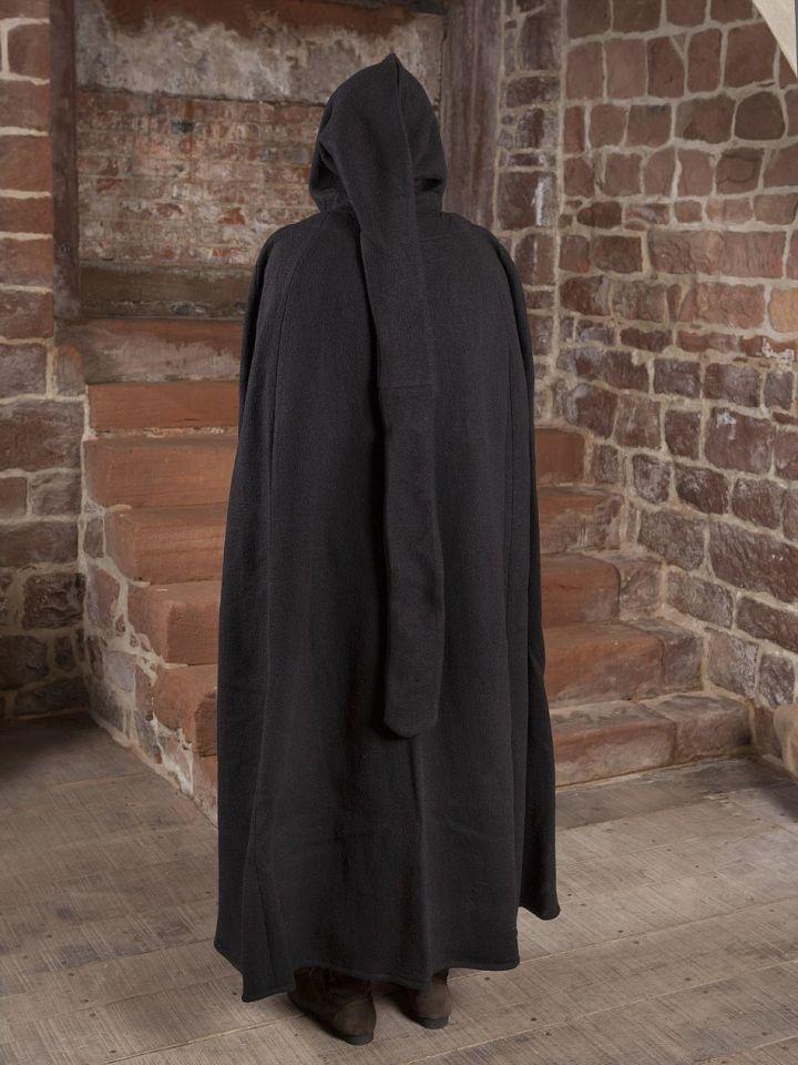 Manteau en laine à capuche en noir 150 cm 4