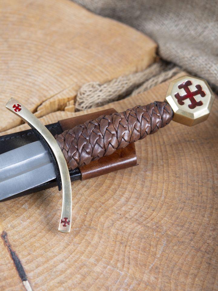 Dague des Templiers avec étui en cuir 4