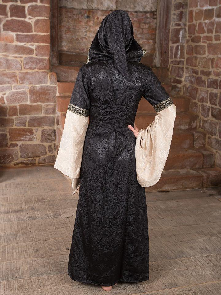 Robe médiévale avec capuche en noir et écru 4