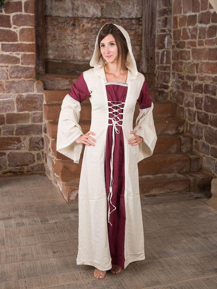 Robe à capuche blanche et bordeaux 4