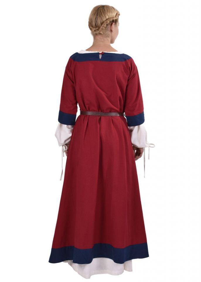 Robe médiévale Radegonde rouge-bleue 4