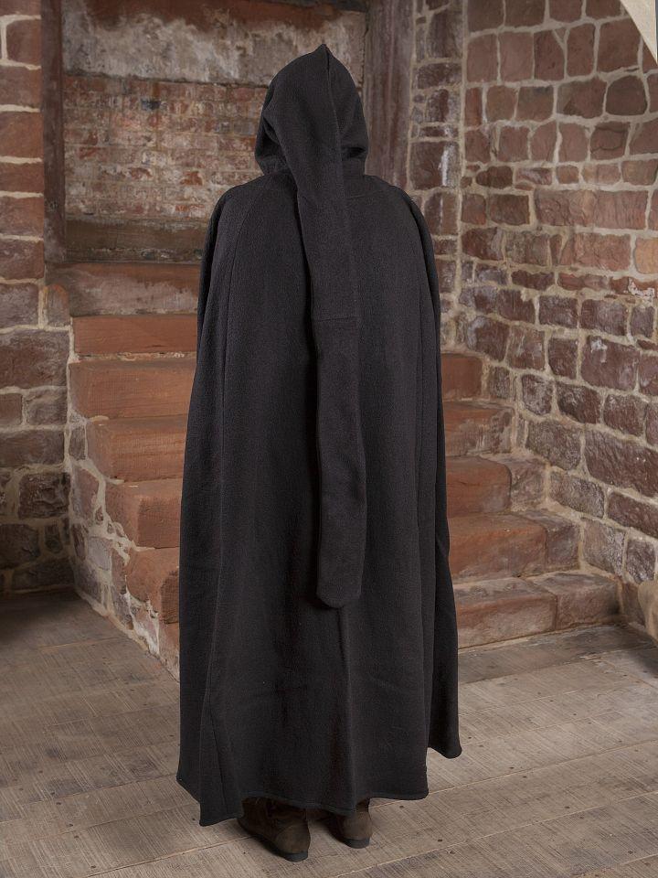 Manteau en laine à capuche en noir 140 cm 4