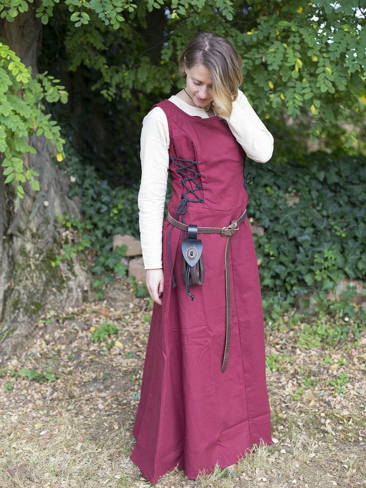 Robe médiévale sans manche en rouge S 4