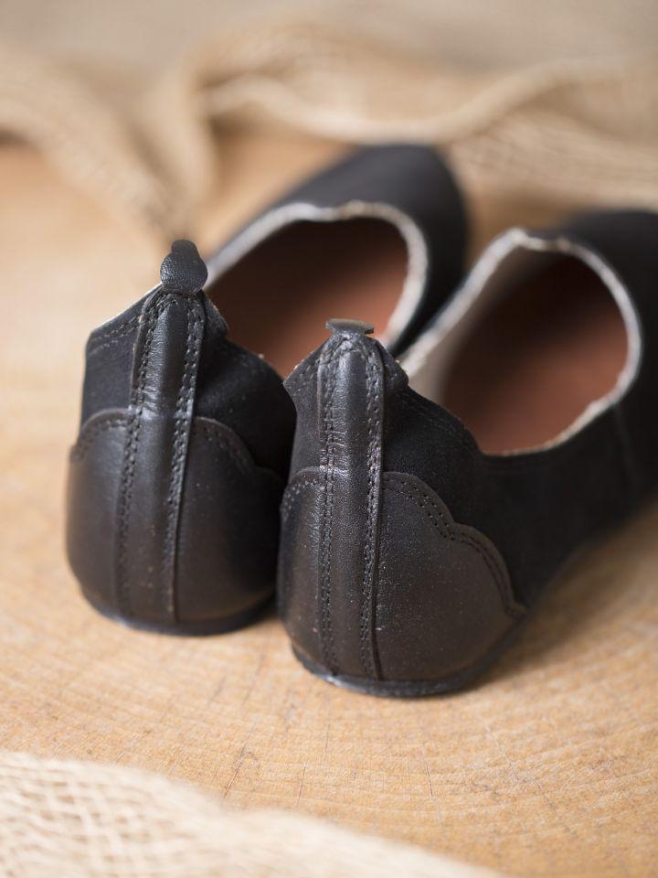 Chaussures médiévales, semelle en caoutchouc, noires 4