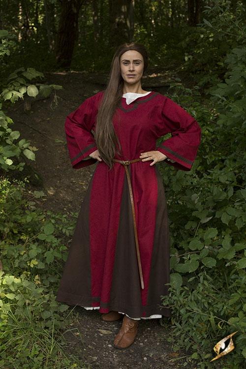 Robe médiévale Astride bicolore en marron et rouge 4