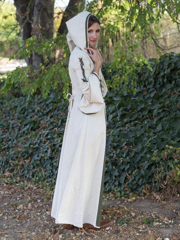 Robe médiévale bicolore à capuche en écru et vert olive 4