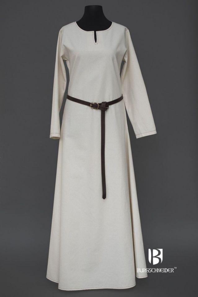 Robe en coton uni, surpiqure rouge L 4