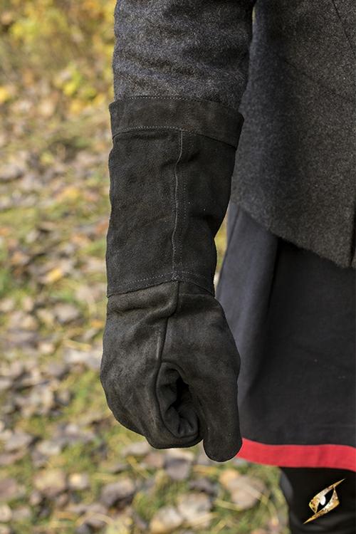 Gants en cuir suédé noir 4