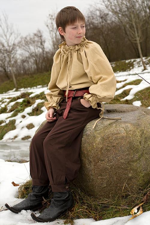 Pantalon en coton pour enfant, marron 4