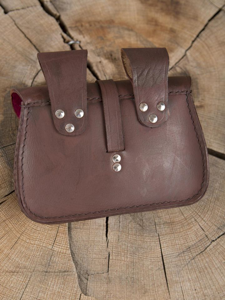 Sacoche de ceinture en cuir, marron 4