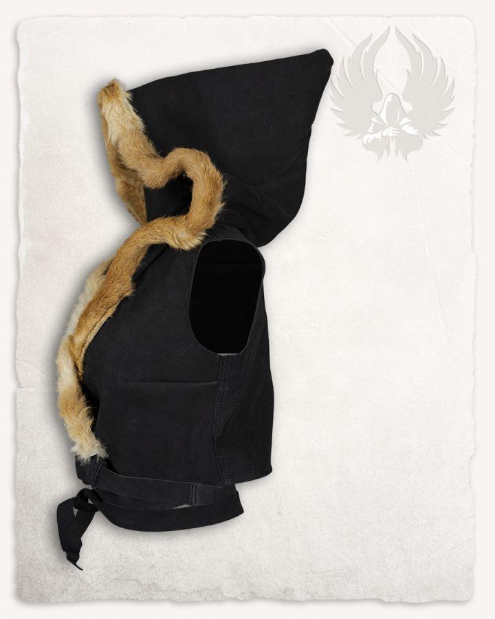 Veste à capuche en cuir noir 4