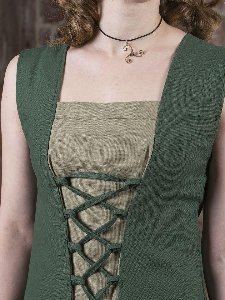 Robe médiévale Yunie en vert olive 4