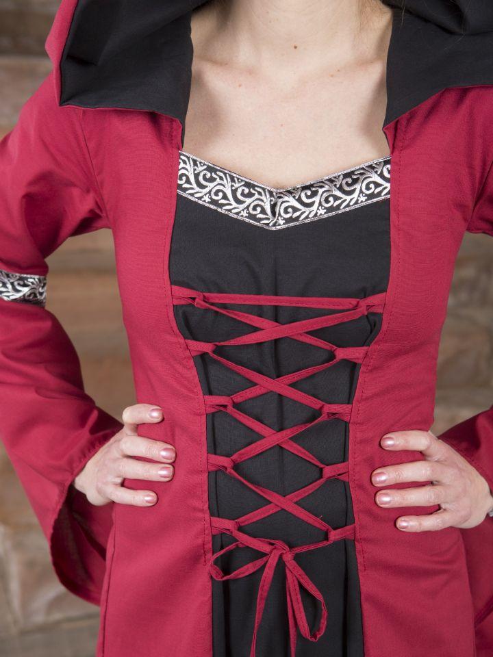 Robe médiévale Helena en rouge et noir 4