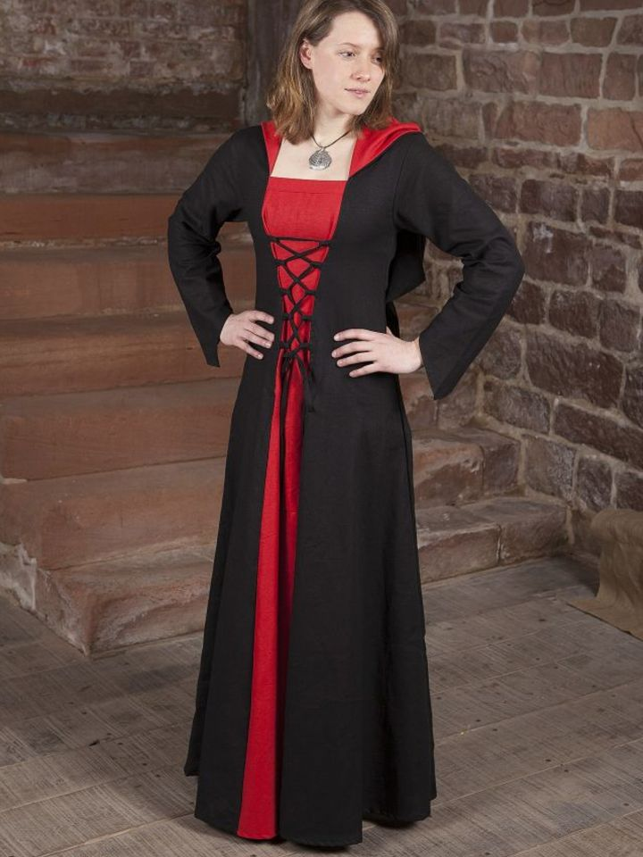 Robe médiévale Luna en noir et rouge 3