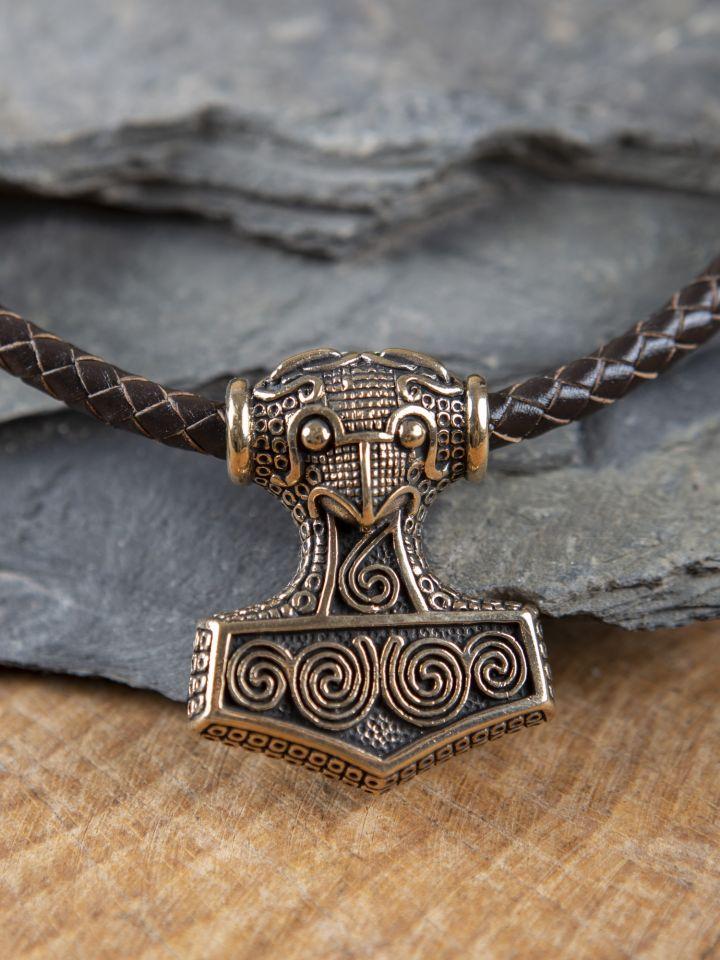 Collier en cuir marron avec pendentif marteau en bronze 4