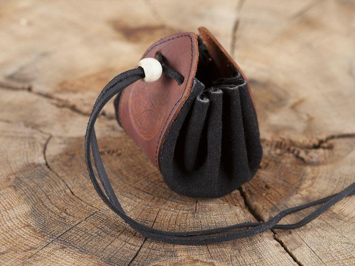 """Sac en cuir marron et noir, motif """"Triskele"""" 4"""