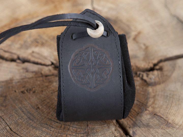 "Sac en cuir noir, motif ""noeud celtique"" 4"