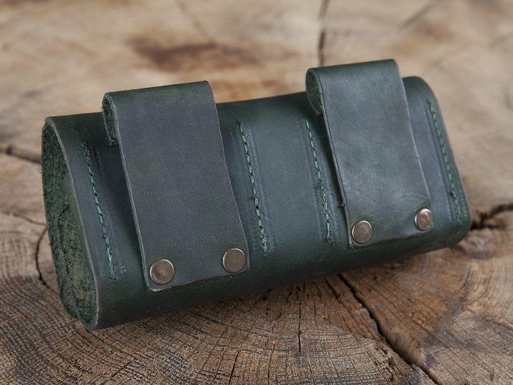 Sacoche de ceinture en cuir, porte flacons en vert 4
