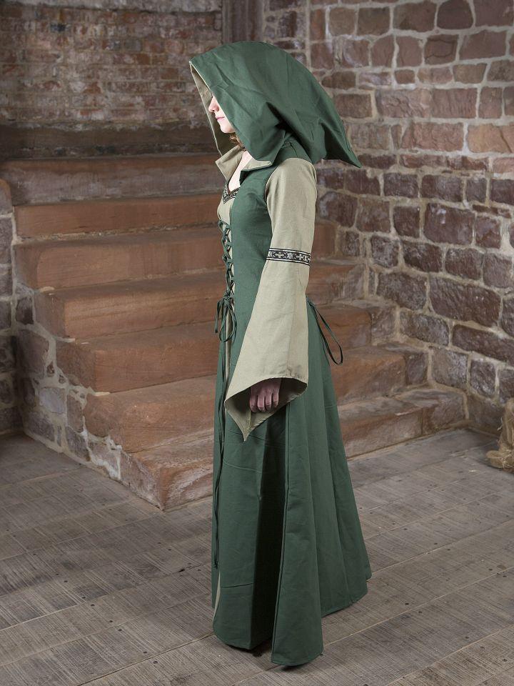 Robe médiévale Irmel en vert olive 4