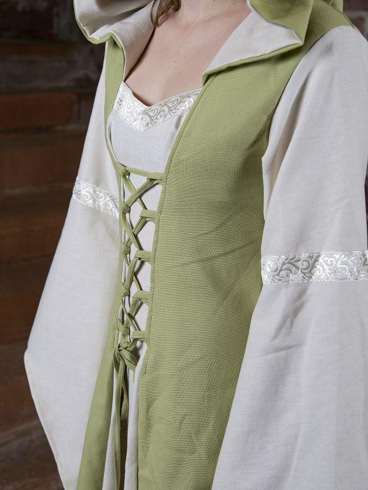 Robe Médiévale Irmel en citron-vert et blanc 4