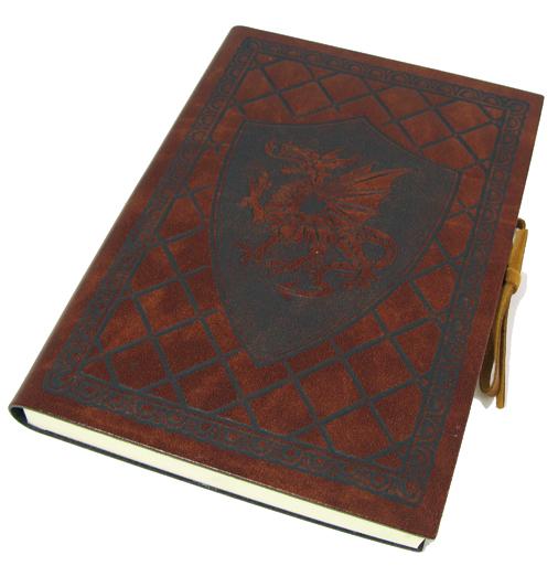 Livre en cuir Dragon ailé moyen 12 cm x 17 cm 4