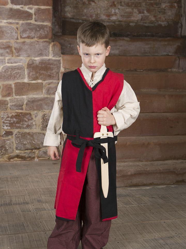 Tabard Norman pour enfant, rouge et noir 4