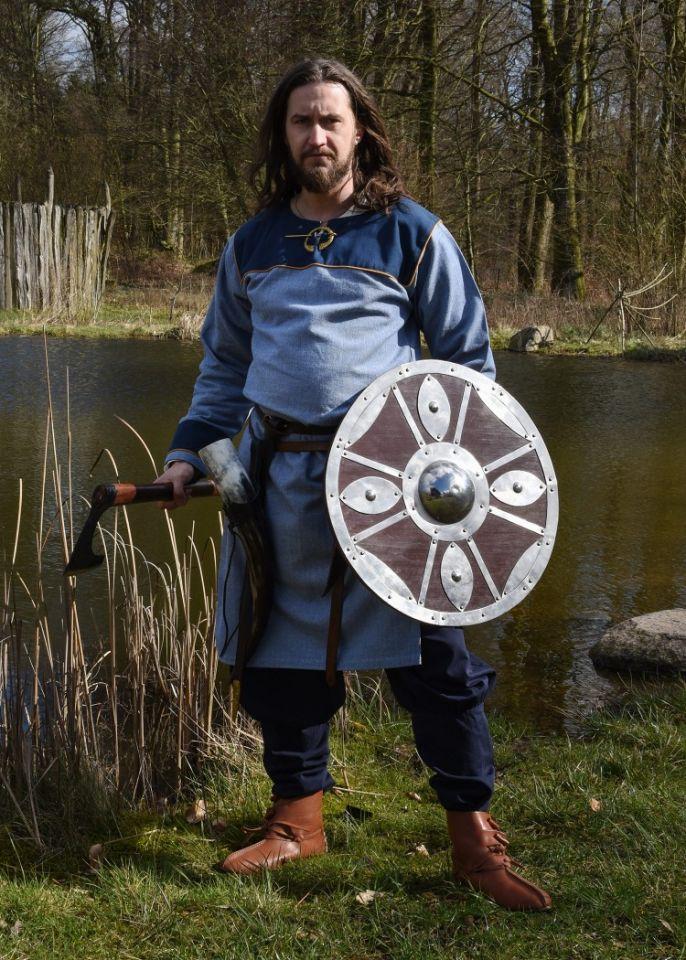Tunique Viking bleue, motif chevrons 5