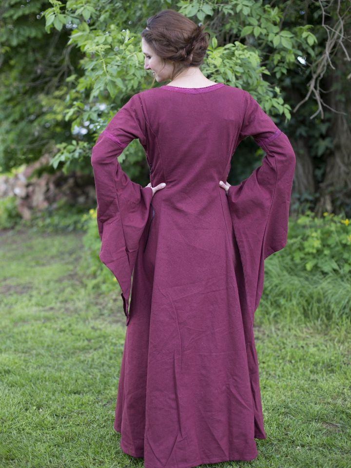 Robe médiévale manches trompette, en rouge/bordeaux 5