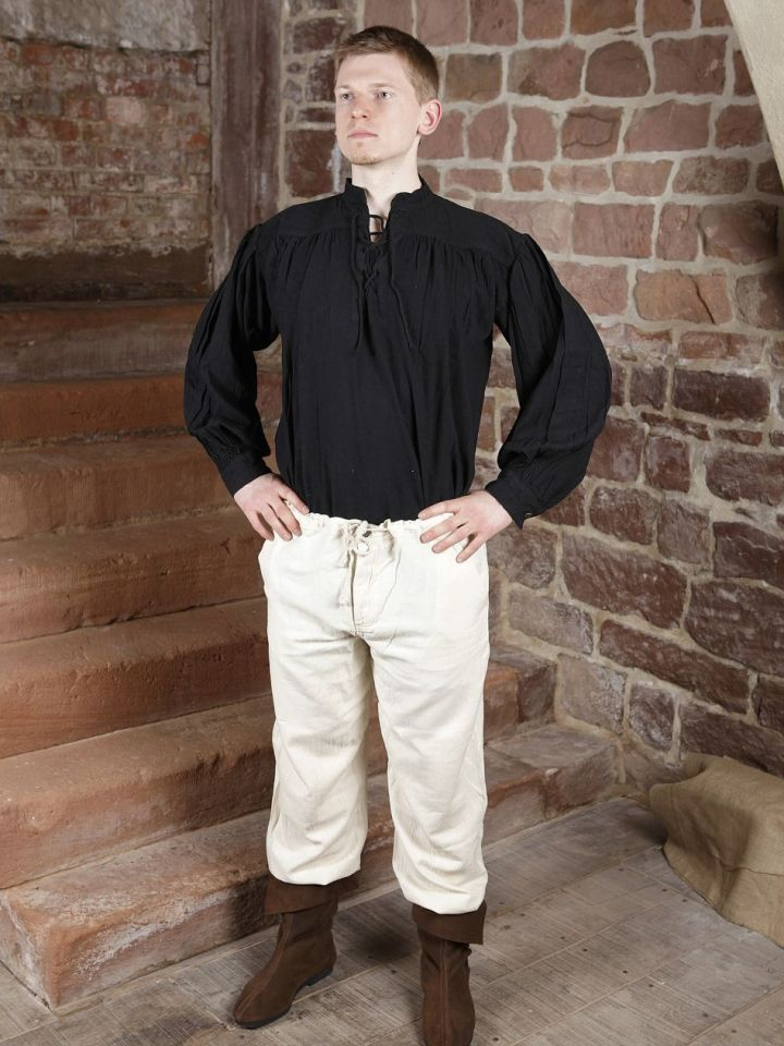 Pantalon médiéval en coton, avec poches noir XL | noir 5