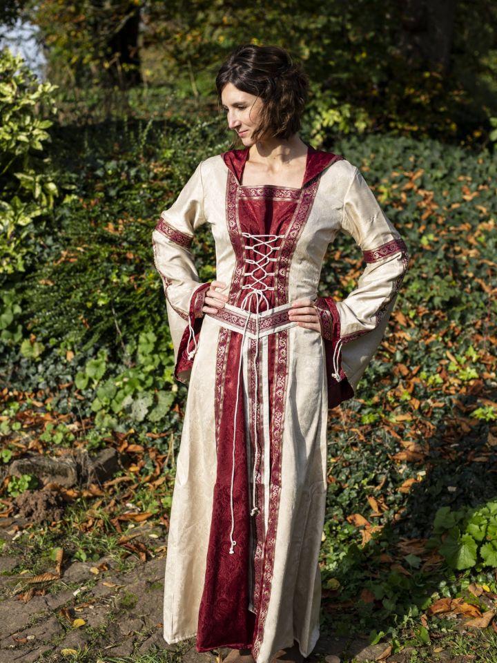 Robe à capuche avec ceinture en bordeaux-nature 5