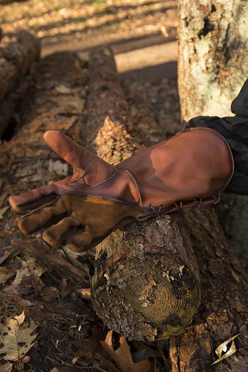 Gant de fauconnier en cuir marron- imitation M 5